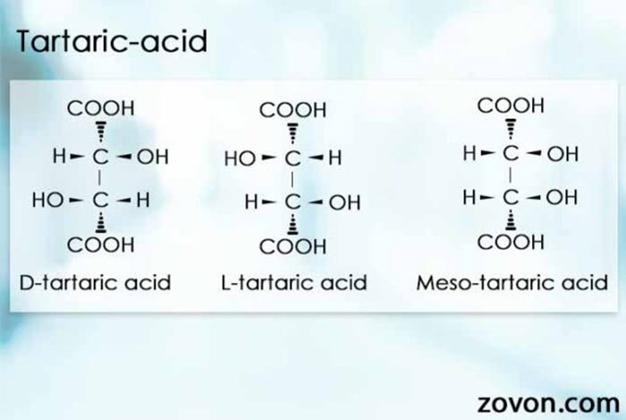 tartaric acid exists in three stereoisomeric forms