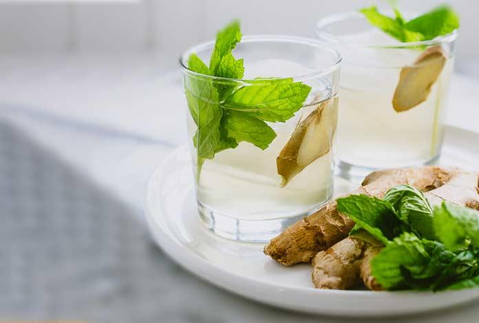 ginger mint water detox drink