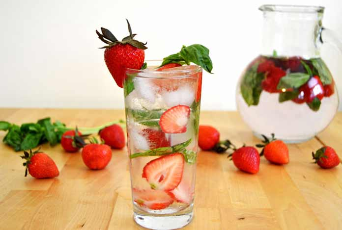 Strawberry Basil Water detox drink