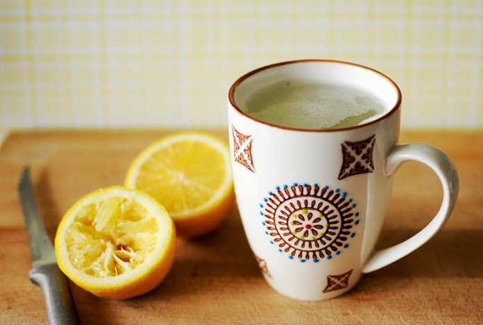 warm lemon water detox drink