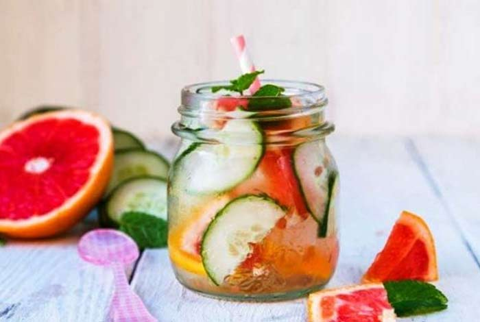 cucumber and grape fruit drink