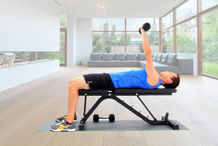 single arm dumbbell floor press